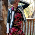 tassel earrings striped moto jacket floral bandage dress daily outfit blog ootd whatiwore2day