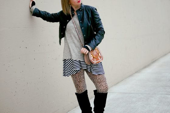 stripes leopard pattern mix daily outfit blog whatiwore2day ootd