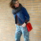 denim jacket camo pants red envelope purse daily outfit blog ootd whatiwore2day