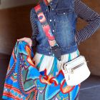 denim vest maxi skirt daily outfit blog ootd whatiwore2day