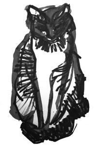 De zwarte kat, geschilderd door mijn verdwenen tante.
