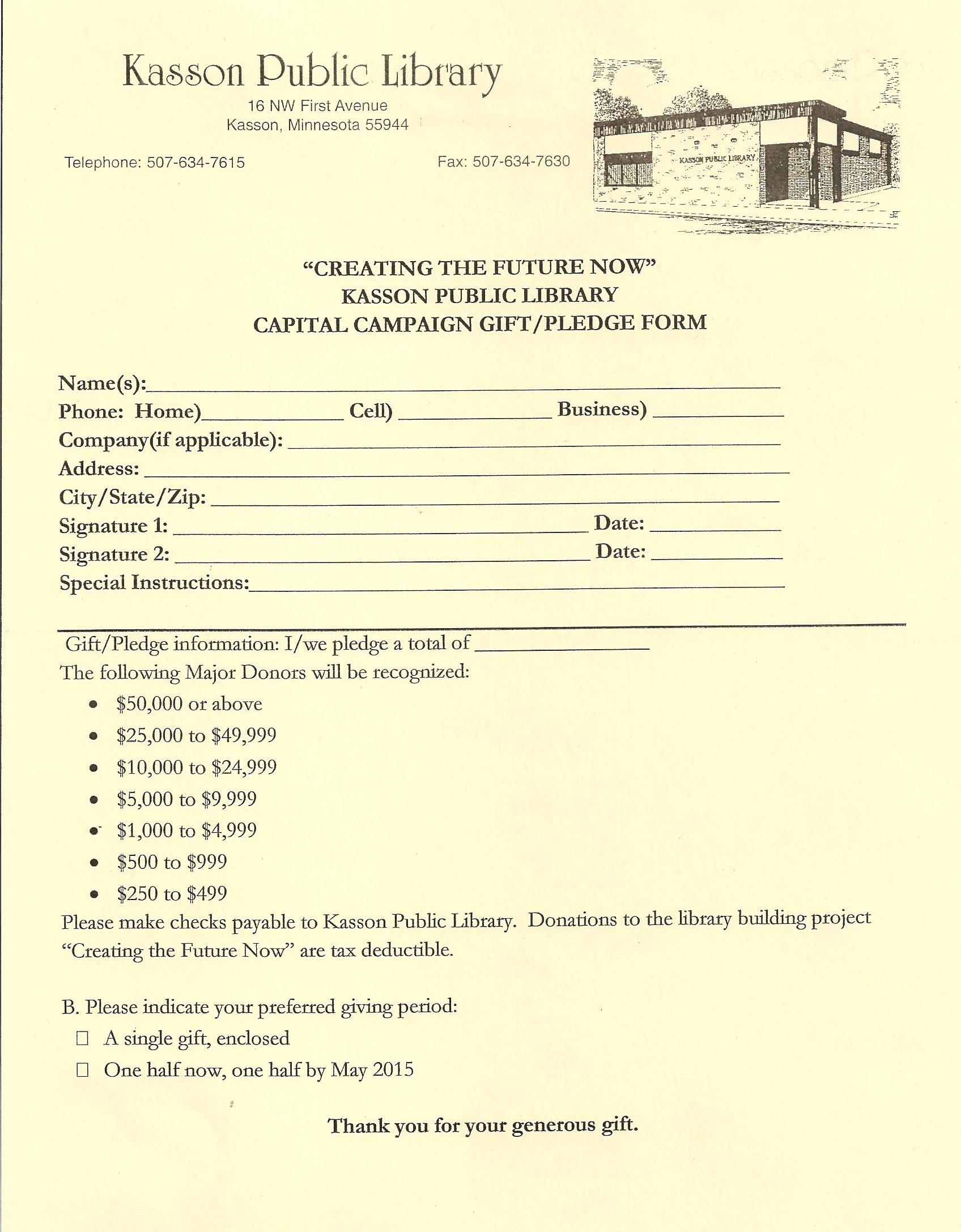 Pledge Form | Kasson Public Library