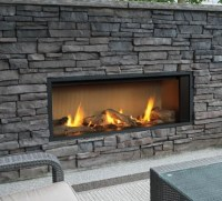 Outdoor Gas Fireplaces - L1 Linear Outdoor Series - Kastle ...
