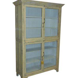 oude witte teakhouten vitrinekast