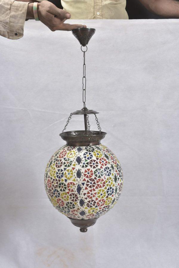 Mozaïek lamp handgemaakt India motief bloem