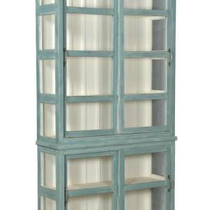 grote vitrinekast – indiakast- servieskast-blauwe kast