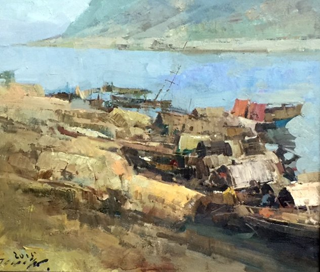 Houseboats On The River By Jove Wang, Oil Painting