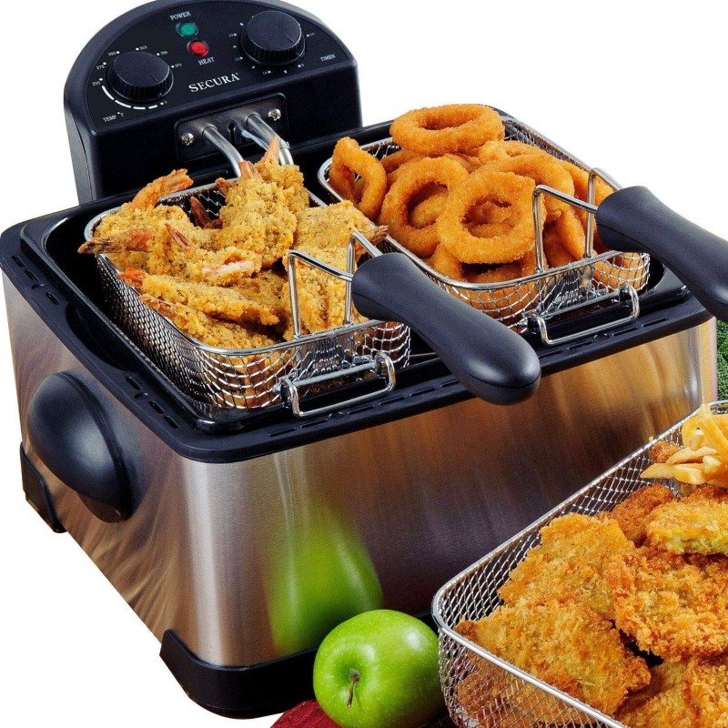 Secura 1700-Watt Stainless-Steel Triple Basket Electric Deep Fryer with Timer Free Extra Odor Filter