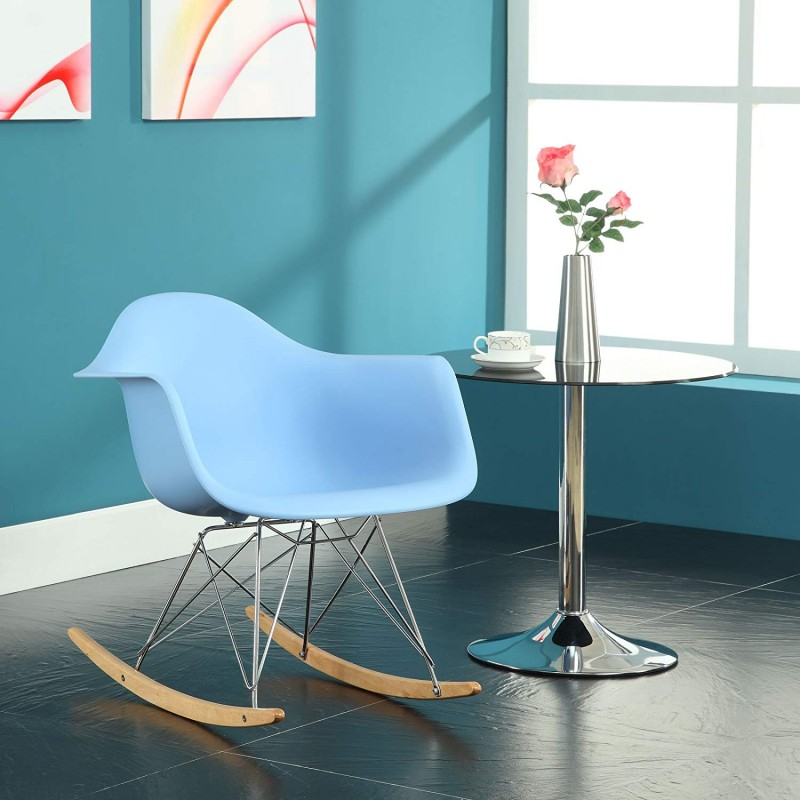 Modway EEI-147-BLU Rocker Molded Plastic Accent Lounge Chair