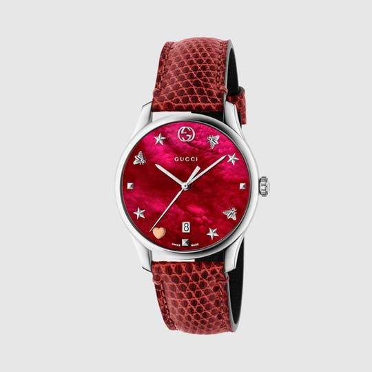 G-Timeless Watch, 36mm - Red Lizard By Gucci