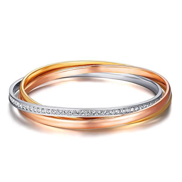 MYJS Trinity 3 Gold Plated Interlocking Bangle Bracelet with Clear Swarovski Crystals