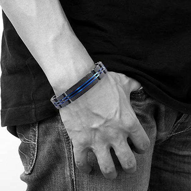 Wangok Men Bracelet Stainless Steel Bracelet Black And Blue With Fashion Sand Blasting