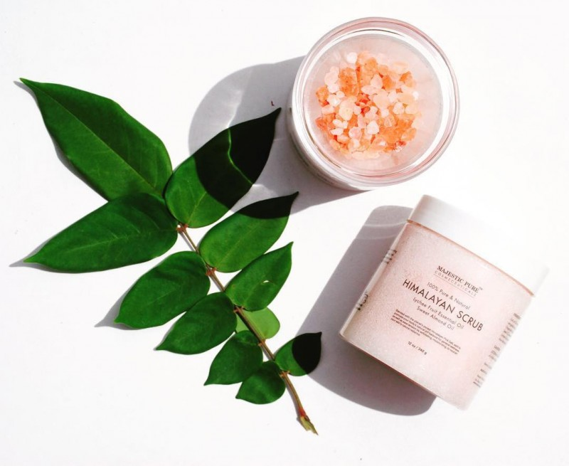 Majestic Pure Himalayan Salt Body Scrub with Lychee Essential Oil