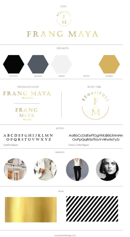 Frang Maya luxus kozmetika logó, arculat, branding board