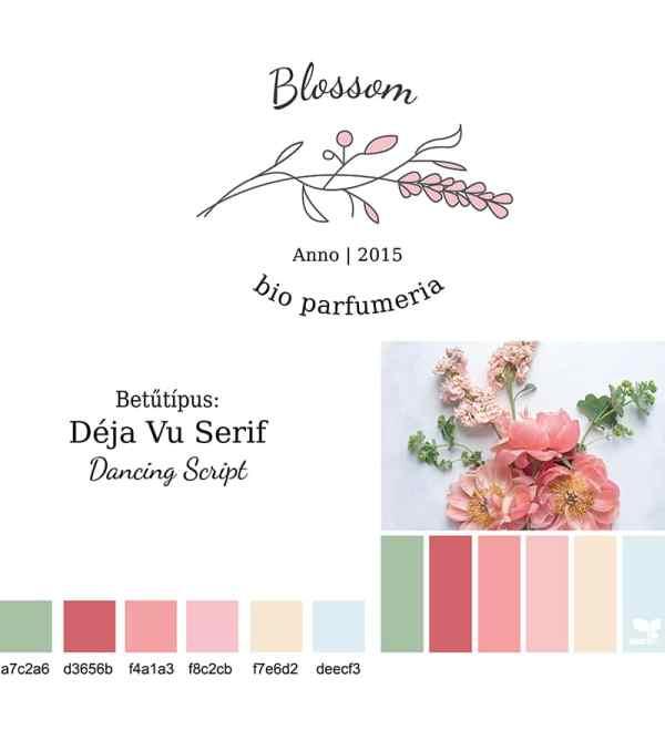 Blossom brand board, arculati tábla blossom logóhoz, nőies, elegáns, letisztult, virágos, pink logó