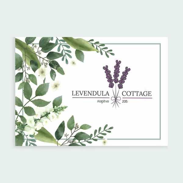 Levendula Cottage tavaszi virágos, retro, letisztult, levendula szín, nőies logó kisvállalkozásoknak. Kozmetika, natur termékek, virágüzlet, illóolaj, parfume, vendéglátás, lakásétterem, kézműves vállalkozás, lakberendező egyedivé teheti vele a vállalkozását. Meghívó kártya, névjegy kártya