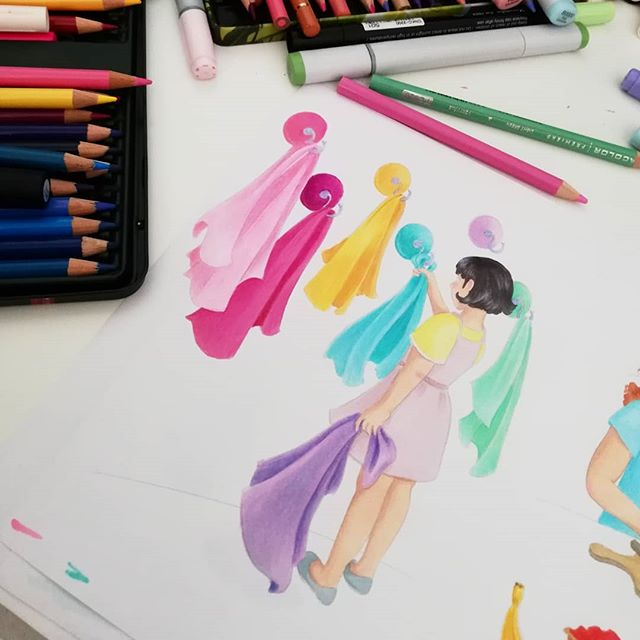 Instagram - Work in progress ;) #kidsillustration #illustrations #illustrationinstagram #sketchnearlyeveryday #sketchbook #drawing #copics #art #artwork #analogillustration #uczęsięczytaćzfretką #colors #pencildrawing #kid #childrensbook #baby #girl