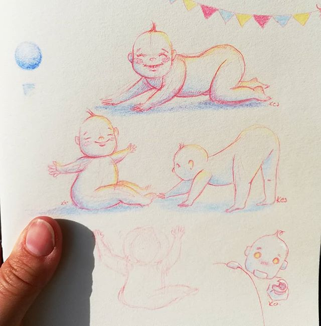 Instagram - New sketchbook #childrensillustration #kidlitart #portrait #szkicownik #newsketchbook #sketchnearlyeveryday #colors #happyness #magical #atmosphere #dailyart #characters #illustrationinstagram #analogillustration #analogsketch #baby #happyday #happybaby #instamamart
