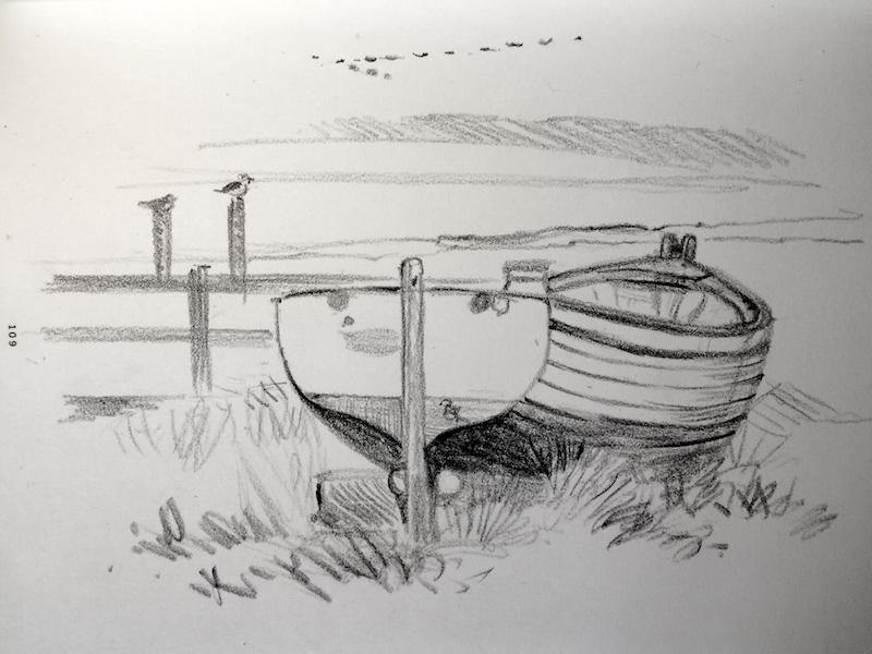 Beachboat sketched on the Blackshore in Southwold