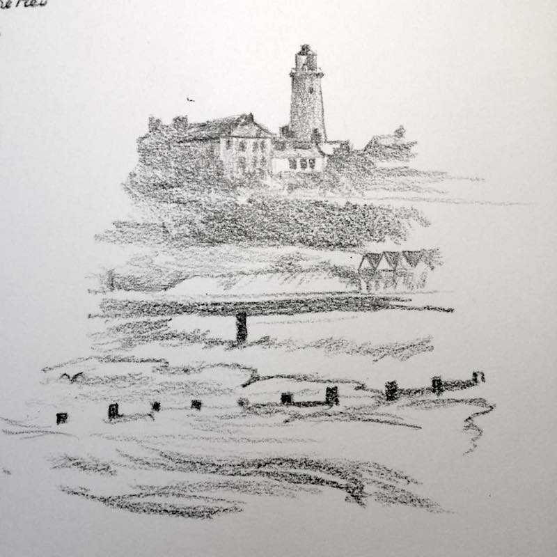 Southwold lighthouse from the pier sketch 147