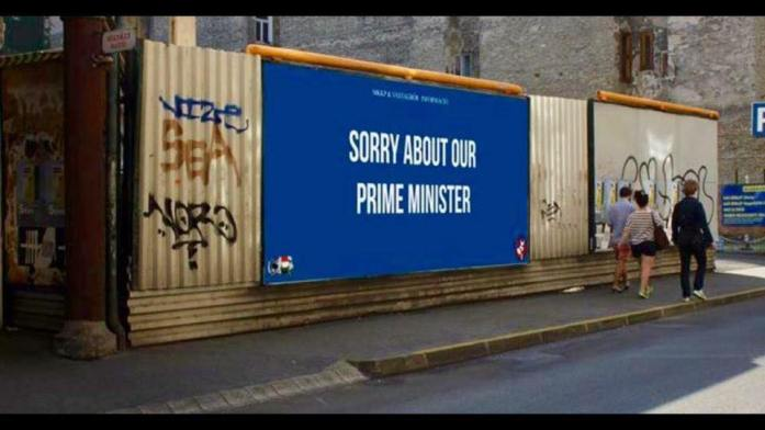 Billboard apologizing for the prime minister Orbán