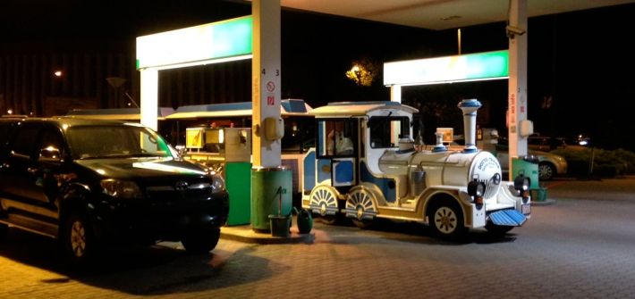 Bekescsaba Sightseeing Train Tanking at Gas station