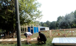 music festival stage construction wood green carpentry