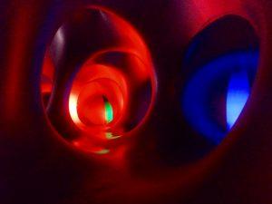 luminarium plastic maze colourful red blue green Sziget Festival