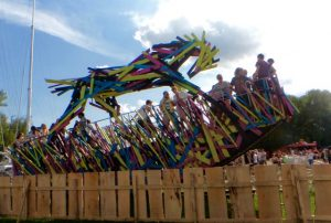 wooden art horse swing at Sziget Festival