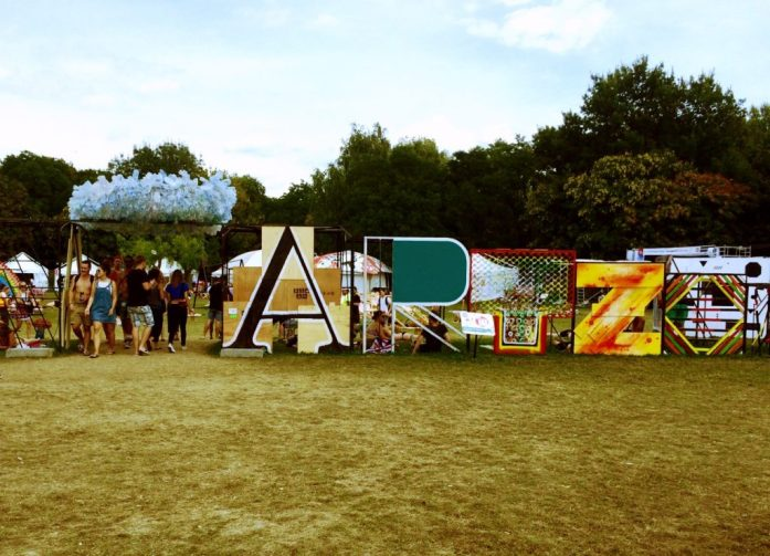 Sziget Festival Art Zone entrance recycled art