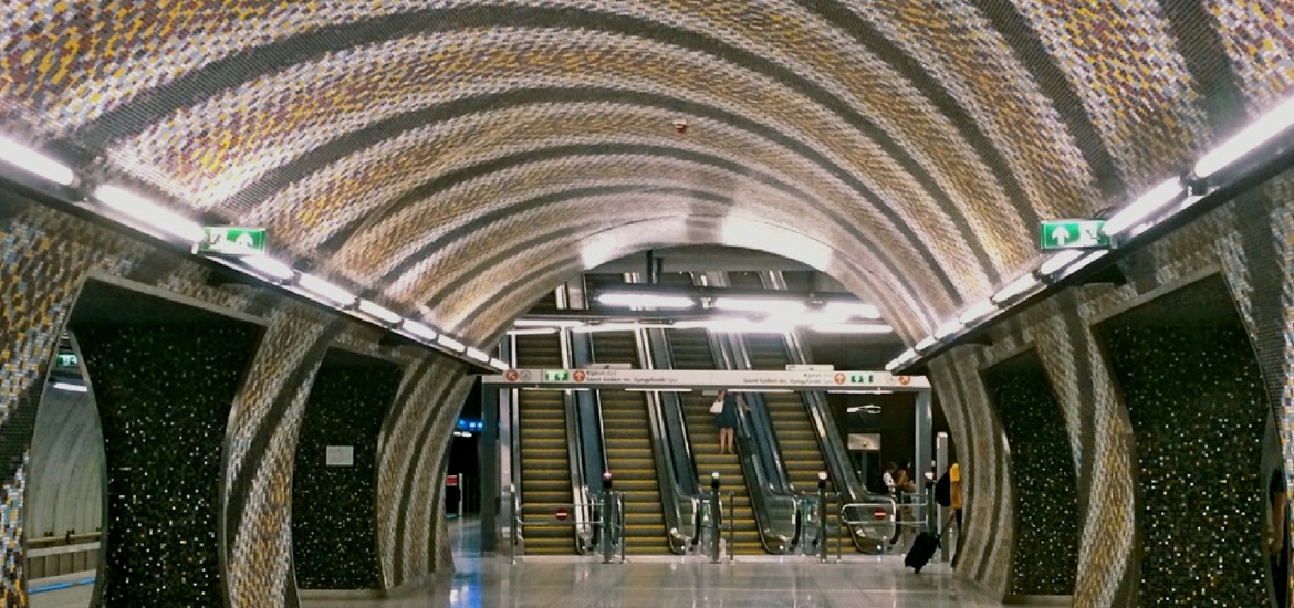 Metro 4 Budapest corruption tunnel mosaic escalator design architecture