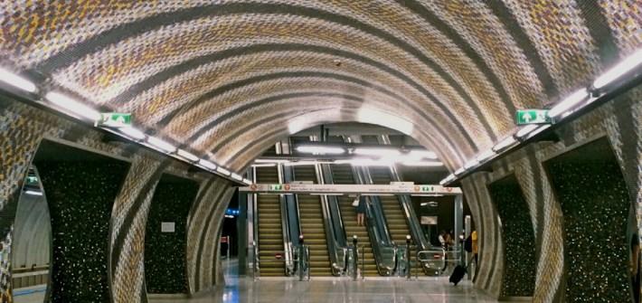 Metro 4 Budapest corruption tunnel mosaic escalator design architecture