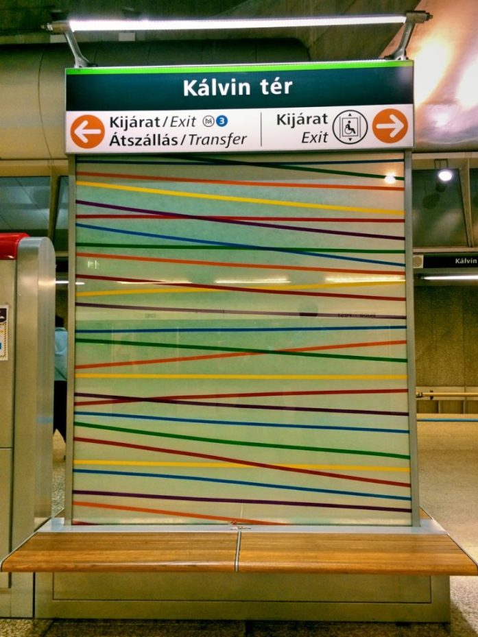 kalvin ter metro stop underground M4 Budapest public transport public sphere architecture station decoration bench