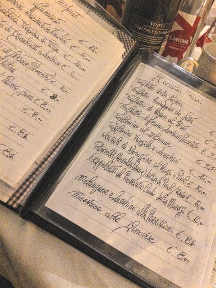 handwritten menu osterial il vecchio maneggio genoa restaurant