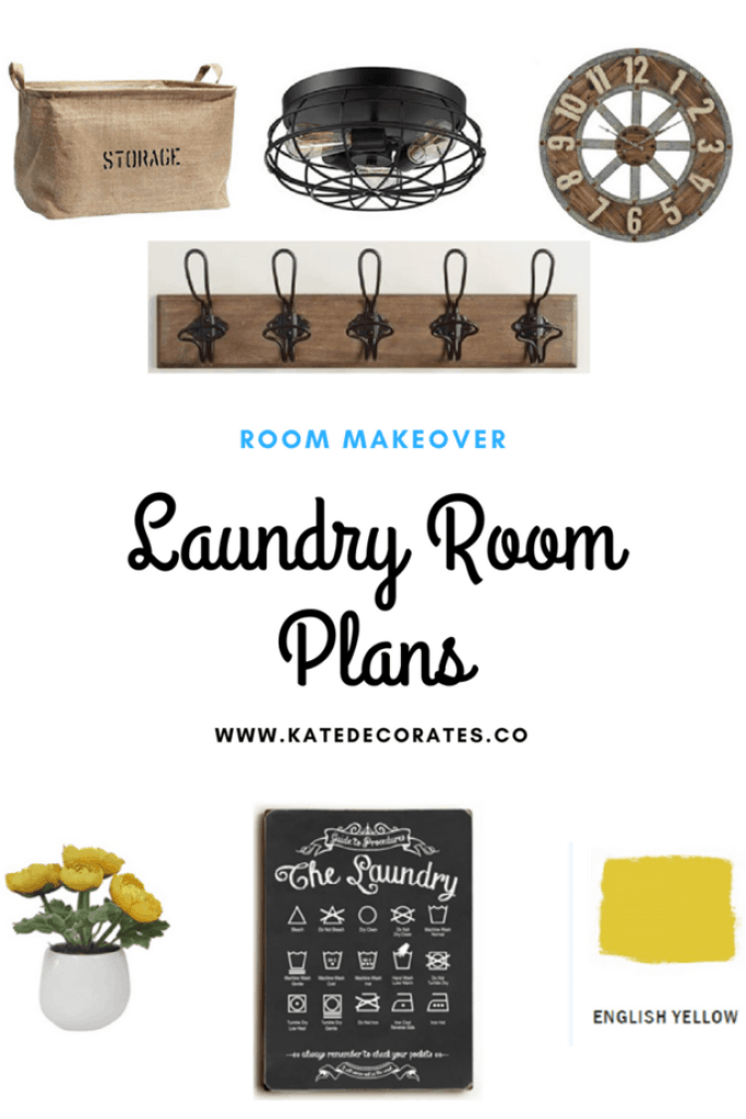 This modern rustic laundry room is going to be gorgeous! Love this combination of decor from KateDecorates.co!