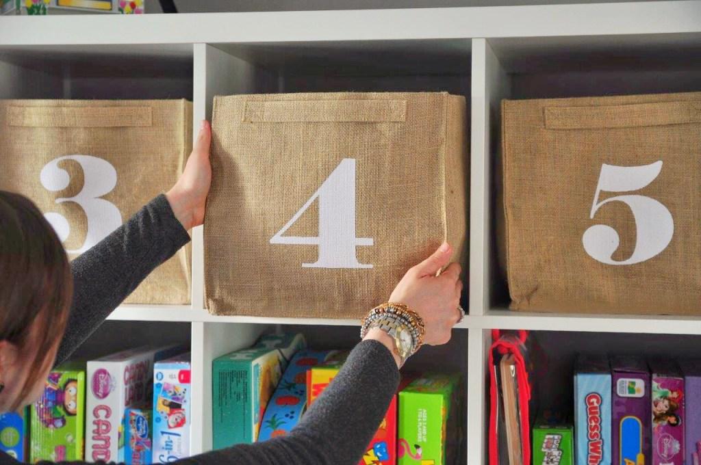 organize playroom storage bins