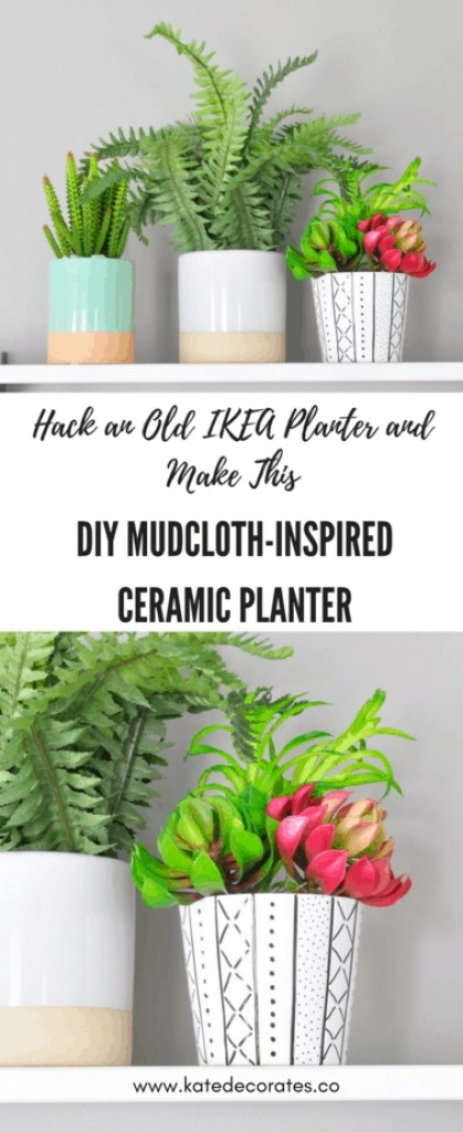 Such an easy and fun DIY! Love this adorable mudcloth-inspired planter.