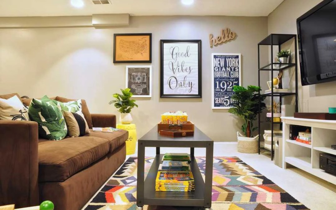 Before and After: Our Basement Playroom + TV Room Reveal