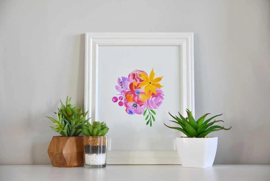 Pink watercolor florals art