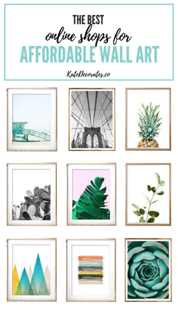 These online shops are perfect if you're looking for modern, colorful, affordable wall art! #wallart #gallerywall #easydecor