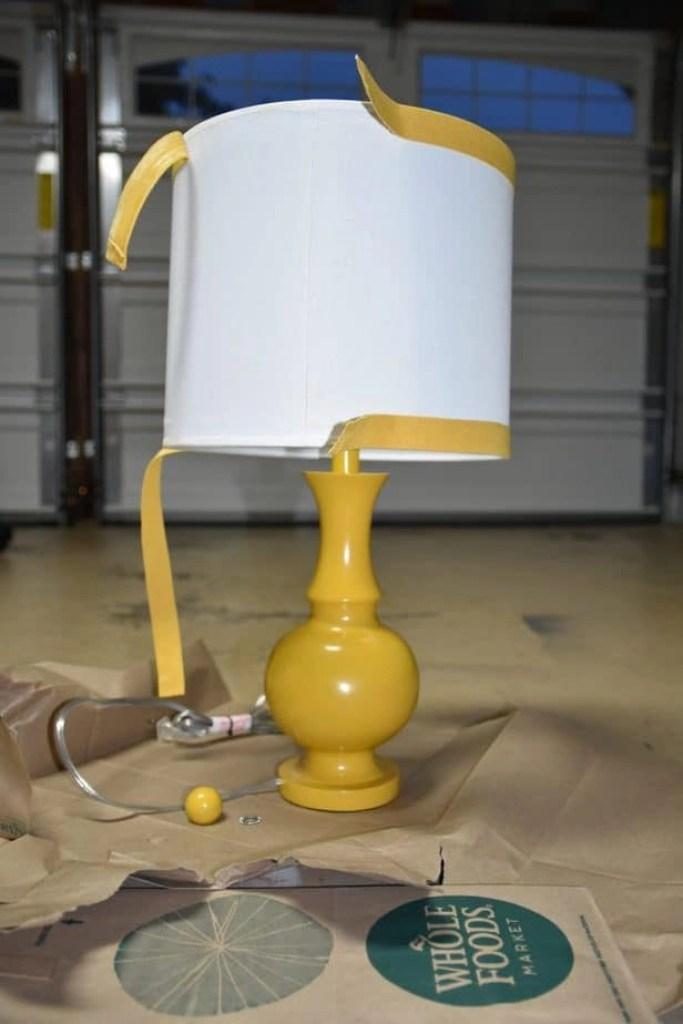 diy pom pom lamp before