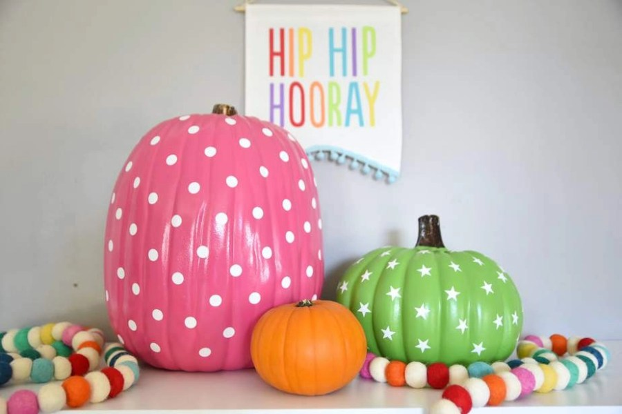 colorful diy pumpkin fall decor 1