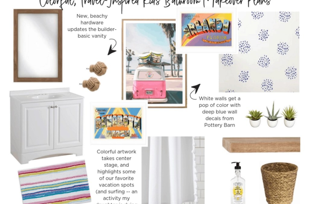 $100 Room Challenge: A Travel-Inspired, Colorful Kids' Bathroom Makeover