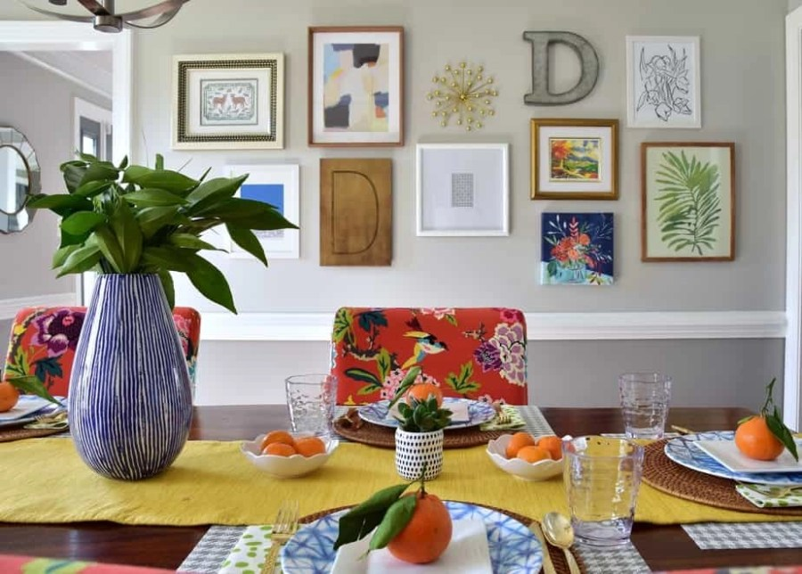 colorful dining room gallery wall art