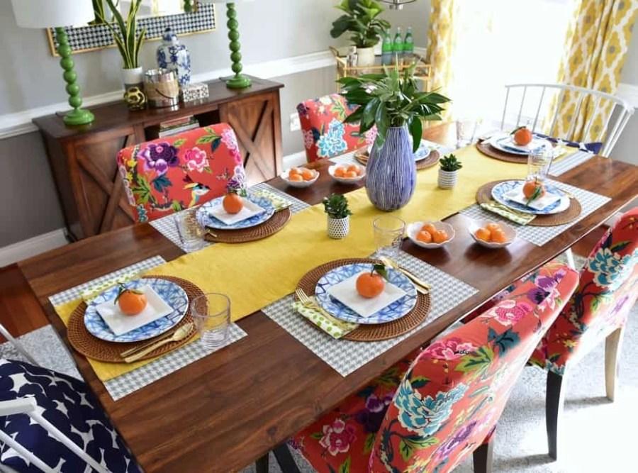 colorful dining room spring decorating birdseye