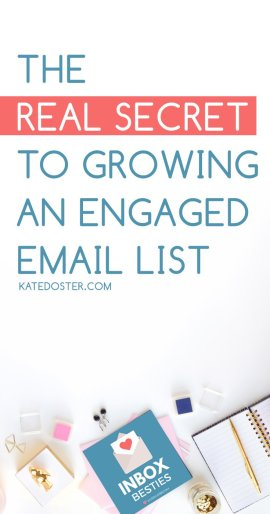 The real secret to growing an engaged email list isn't having complicated funnels, freebie fests or being the copywriter in the whole world. You see the secret to growing a big email list for your bloggers that actually pays attention to you is this…(Click now or save for later)  via @thekatedoster