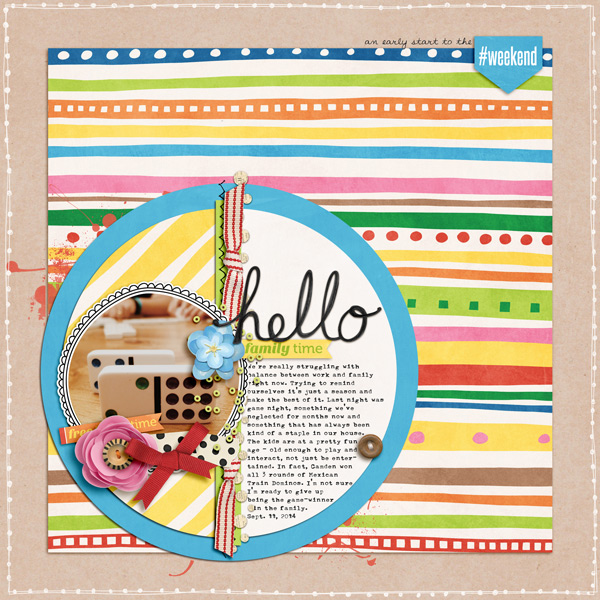 Weekend at Home digital scrapbooking page | scrapbook layout ideas | Kate Hadfield Designs creative team layout by Melissa