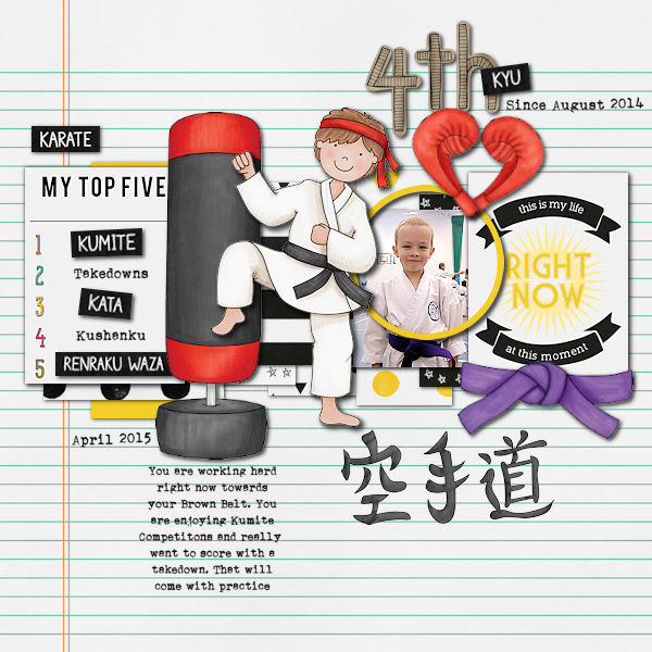 Black Belt - digital scrapbook layout from Kate Hadfield Designs creative team member Vicky