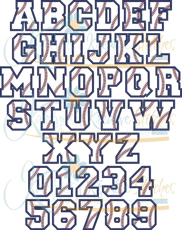 Baseball Applique Font 5 Sizes