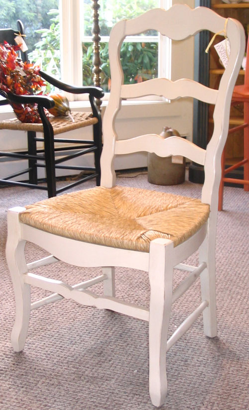 white ladder back chairs rush seats desk chair no wheels uk french country ladderback side in paint dining with milk